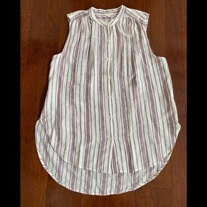 Lucky Brand striped sleeveless button front tunic